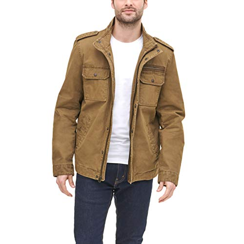 Levi's Men's Washed Cotton Two Pocket Military Jacket (Standard and Big & Tall), Khaki, Large