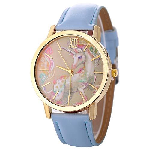 jingyuu 1Pcs Reloj Unicornio,Reloj de Dama,Reloj Infantil,Niño niña(Azul Cielo)