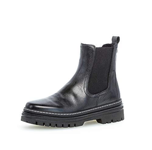 Gabor Damen Stiefeletten, Frauen Biker Boots,Best Fitting,Reißverschluss,Optifit- Wechselfußbett, Bootee Booties,schwarz (Weiss),40 EU / 6.5 UK