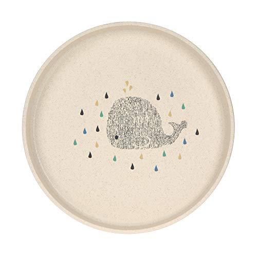 LÄSSIG Piatto per bambini senza melamina, senza BPA, adatto a lavastoviglie e microonde/Plate Little Water Whale