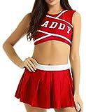 Freebily Déguisement Pom Pom Girl Femme Vêtements de Danse Compétitions Jeux de rôle Costumes de Scène Halloween Performance S-XXL Rouge XXL