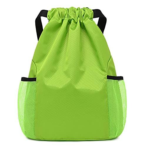 QIANJINGCQ Mochila impermeable bolsillo con cordón, bolsa deportiva de ocio, mochila ligera con cordón, que puede contener una mochila de fútbol y baloncesto