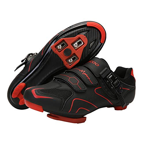 Unisex Cycling Shoes Compatible with Peloton Indoor Road Bike Shoes Riding Shoes for Men and Women Look Delta Cleats SPD Clip Outdoor Pedal, (Black-red, M10.5)