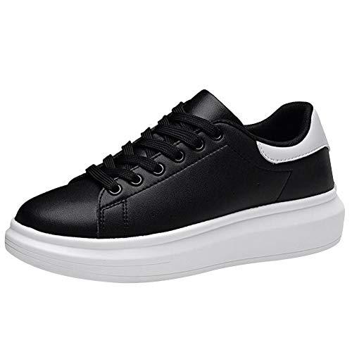 Shenn Women's Platform Lace up Comfort Fashion Sneakers Shoes 9289(Black,8.5)