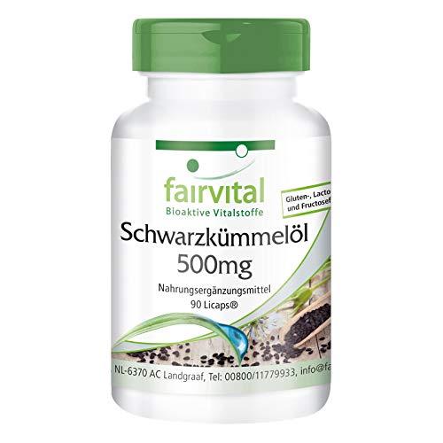 Aceite de Comino Negro 500mg - Nigella sativa (Neguilla) - VEGANO - Dosis elevada - Rico en Ácidos grasos esenciales - 90 Cápsulas