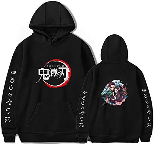 PANOZON Herren Anime Demon Slayer Hoodie mit Nezuko Tanjiro Giyuu Aufdruck Kimetsu no Yaiba Pullover(Aschwarz02264,4XL)