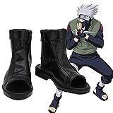 Anime Naruto Hatake Kakashi Cosplay Party Shoes Black Peep Toe Boots Customized Size
