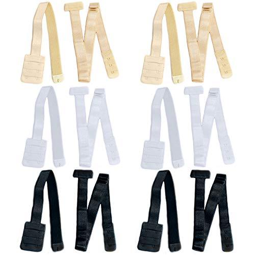 Anyasen Bra Converter 6 Stück BH Verlängerung BH-Träger Converter BH-Verlängerer Erweiterung Rückenfrei Rückenkonverter Bra Strap Converter, 2 Haken, (Schwarz+ Weiß+Natürlich)