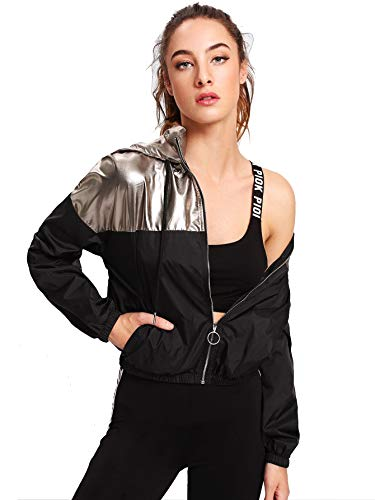 Verdusa Women's Casual Colorblock Zip Up Hoodie Pocket Jacket Multicolor L
