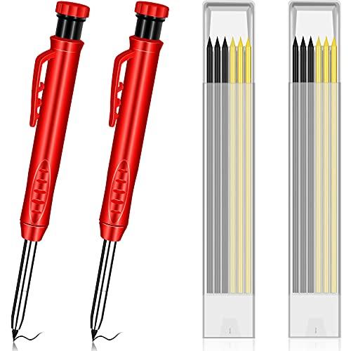 TCIOD 2 Stück Tieflochmarker Zimmermannsstifte, mit 12 Minen Eingebauter Bleistiftspitzer Bauwerkzeuge Blei-Baustifte Solides Tiefloch-Markierwerkzeug für Holzbearbeitungsarchitekten