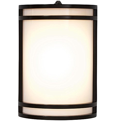 """Modern Outdoor Wall Sconce   10"""" Clean Line Exterior Light   Black Finish with Frosted Lens   3000K LED Lighting with Dawn to Dusk Auto Sensor and No Bulb Required"""