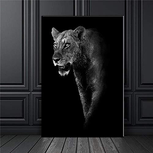 NIMCG Pintura de Lienzo de Arte de Pared de Cebra en Blanco y Negro Cartel nórdico e Imagen de Pared Impresa para la decoración de la Sala de Estar (sin Marco) A4 40x50CM