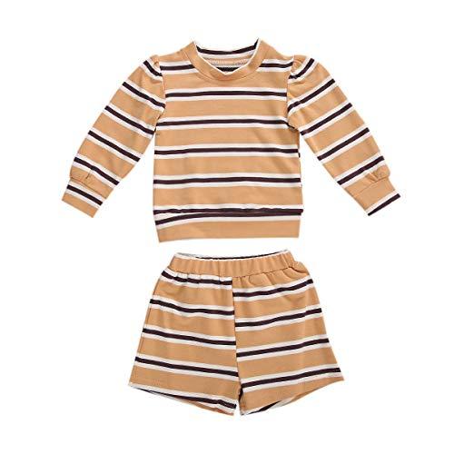 Unisex niño pequeño bebé niño niña otoño chándal niños chándal Manga Larga Cuello Redondo Rayas Sudadera + Pantalones Cortos 2 Piezas Ropa Conjunto