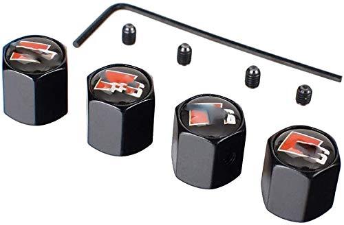 WYBF De válvula del neumático de Coche Madre Caps 4PCS Auto tapacubos de Alta Resistencia a Prueba de Polvo Válvulas Madre for Audi S Line Car Styling Decoración 927 (Color : Cblack)