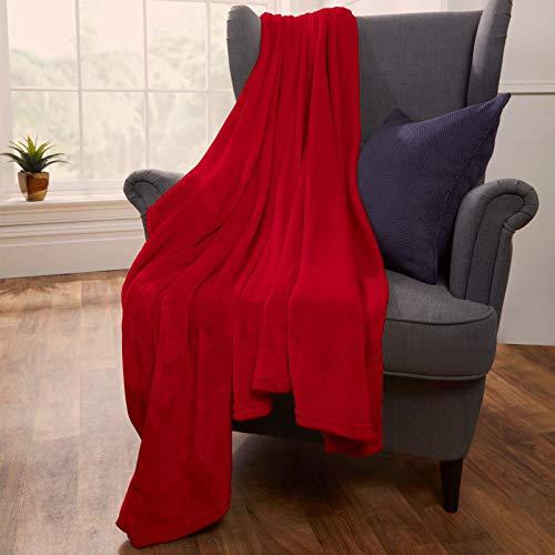Brentfords Manta de Forro Polar de Franela súper Suave y mullida para sofá de Cama, Color Rojo, 120 x 150 cm