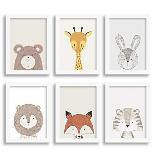Quadro para quarto de bebê - Urso, Girafa, Coelho, Leão, Raposa e Tigre (18x24cm)