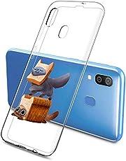 Oihxse Funda Samsung Galaxy M30s, Ultra Delgado Transparente TPU Silicona Case Suave Claro Elegante Creativa Patrón Bumper Carcasa Anti-Arañazos Anti-Choque Protección Caso Cover (A2)