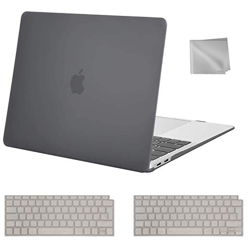 MOSISO MacBook Air 13 inch Case 2020 2019 2018 Release A2337 M1 A2179 A1932, Plastic Hard Shell Case&Keyboard Cover&Wipe Cloth Compatible with MacBook Air 13 inch with Retina Display, Gray