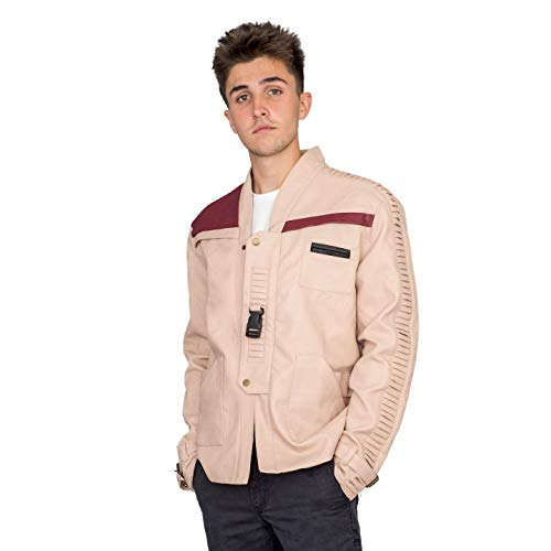 Star Wars Men's Finn Costume Replica Leather Jacket (Adult X-Large) Light Brown