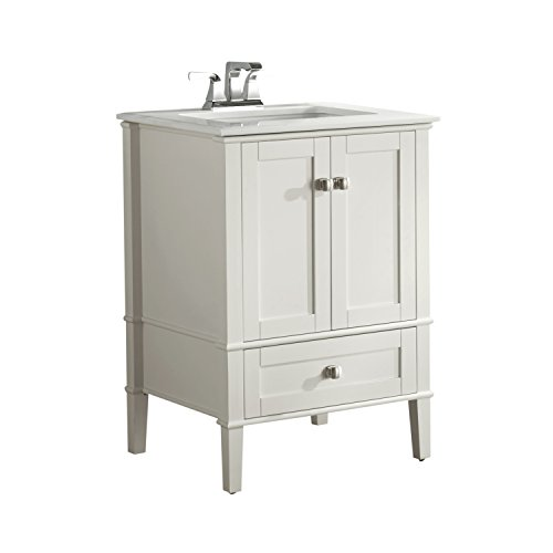 Simpli Home Chelsea 24 inch Contemporary Bath Vanity in Soft White with White Engineered Quartz Marble Top