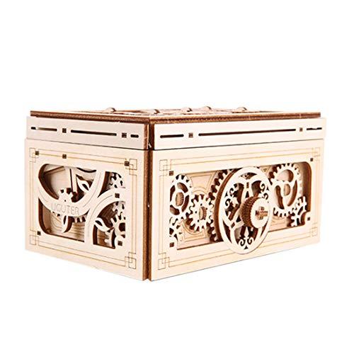 H0_V 3D Holzpuzzle mit Getriebe Hand-Handwerk Musikbox-Mechanische Modellbau Kits Spielzeug für Kinder Erwachsene
