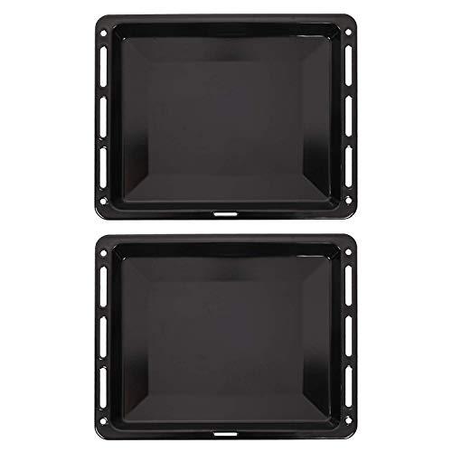 ICQN 465 x 375 x 30 mm Backblech Set | Passend für Bosch Siemens Neff Constructa | 2er Backbleche für Backofen | Emailliert | Fettpfanne | Kratzfest | 46,5 x 37,5 cm