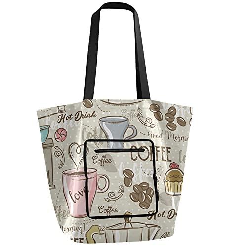 Wiederverwendbare Einkaufstaschen für Kaffeemaschinen, mit Außentasche, Einkaufstaschen, groß, 20 kg, faltbar, waschbar, wasserdicht, leicht, umweltfreundlich