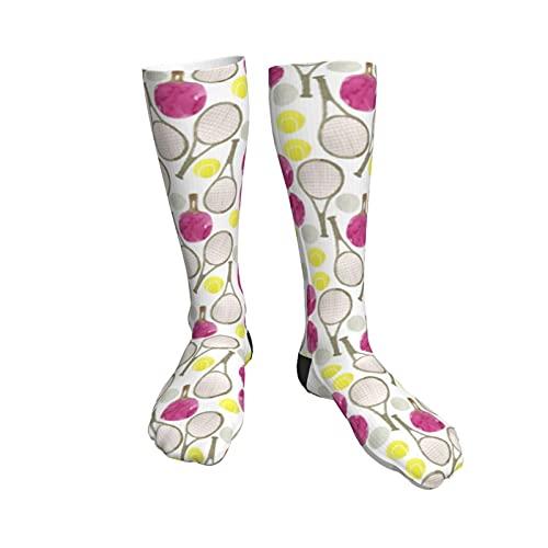 tennis balls and tennis rackets pattern Men's Women's Compression Socks Knee High Thermal Graduated Socks