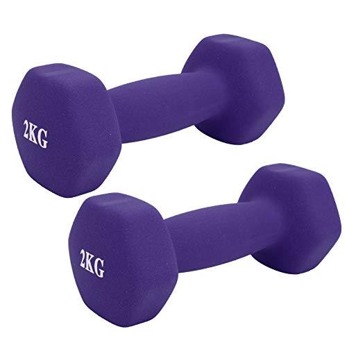 Durable antideslizante PVC Encased Hex Dumbbell para adultos para hombres mujeres para niños (púrpura)