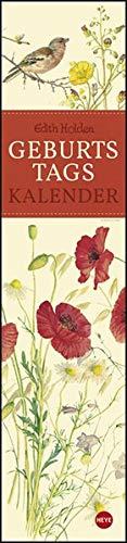 Edith Holden Geburtstagskalender - immerwährender Kalender mit Monatskalendarium - Format 11 x 49 cm