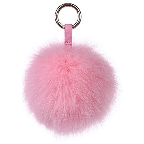Damen Fuchspelz Pom Pom Ball Echtfell Fell Pelz Bommel Schlüsselanhänger Taschenanhänger Schlüssel- Taschen- Fellanhänger Pelz-Anhänger für Handtaschen, Rückspiegel im Auto (Rosa)