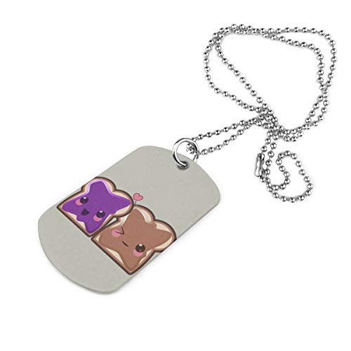 Chion Peanut Butter and Jelly Dog Tag Pendant Necklace Personalized Military Necklace