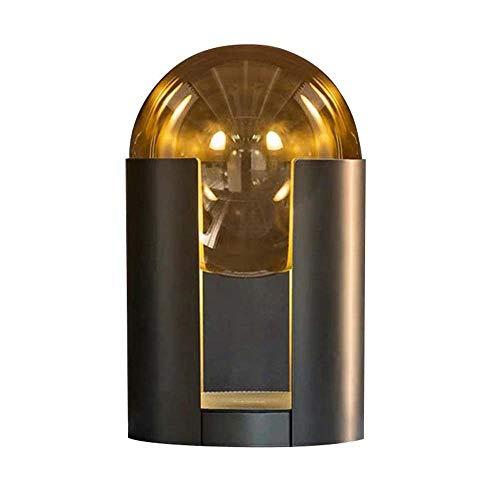 Hogreat Smart led Lámpara Nórdica Negro Cilíndrico Cylindrico Cristal de Vidrio Amarillo Dormitorio Cama Es Creativa Pequeña Mesa Lámpara