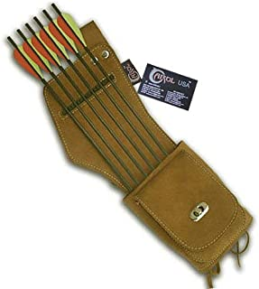 Carol Traditional Side/Hip/Belt/Waist Suede Leather Arrow Quiver AQ142 (R/H) Brown