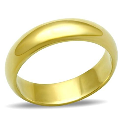 Ah! Jewellery Unisex 4mm Plain Wedding Ring Band. Stainless Steel Gold IP, Stamped 316. Never Tarnish