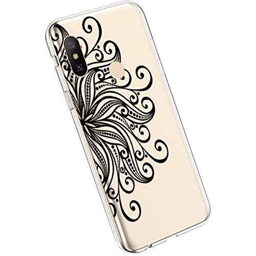 Ysimee Compatible avec Xiaomi Mi A2 Lite/Redmi 6 Pro Coque Créatif avec Motif Colorés Imprimés Housse Silicone Transparente Etui Ultra Slim Soft Case Antichoc Bumper Housse de Protection,Mandala #18