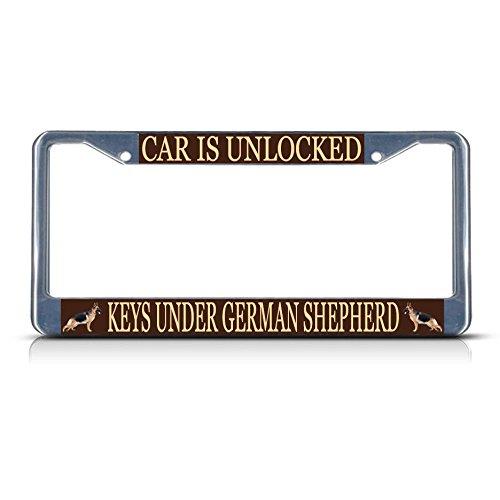 CAR is ontgrendeld sleutels onder Duitse herder hond metalen kentekenplaat frame Tag Perfect voor mannen vrouwen auto garadge Decor