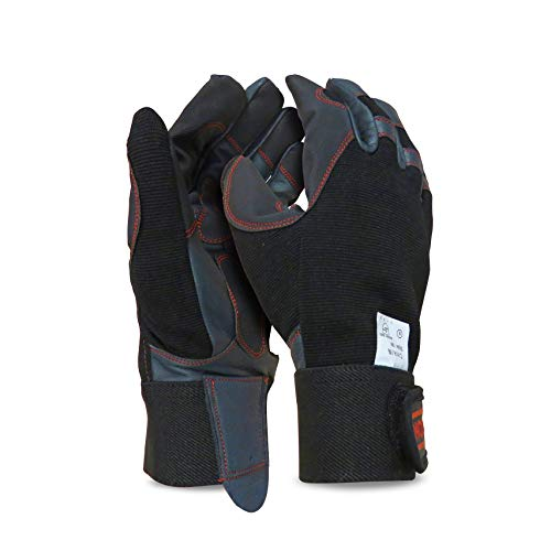 OREGON 295395 Scientific elásticas de protección Guantes de Cuero 4 direcciones para el Trabajo con Motosierras y Desbrozadora Talla L, Large