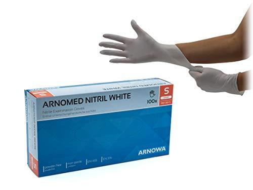 Nitrilhandschuhe puderfreie latexfreie weiße Einmalhandschuhe Größe S 100 Stück/Box ARNOMED Einweghandschuhe in gr. S M L XL