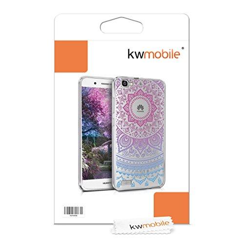 kwmobile Huawei GR3 / P8 Lite SMART Hülle - Handyhülle für Huawei GR3 / P8 Lite SMART - Handy Case in Indische Sonne Design Blau Pink Transparent - 6