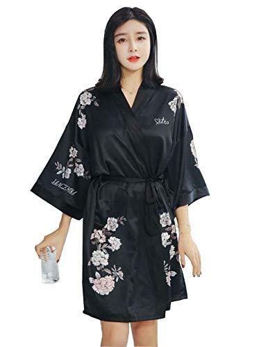 Mujer Batas Elegante Camisones Flor Estampadas con Cinturón Manga Larga Modernas Casual Kimono Albornoz Pijama (Color : Negro, Size : One Size)