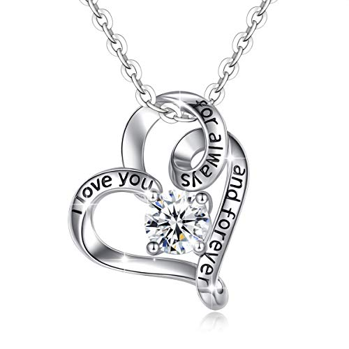 925 Sterling Silver'I Love You for always and Forever' Pendant Necklace Infinity Love Heart AEONSLOVE Jewellery for Women/Girls