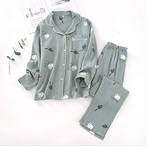 XFLOWR Schlafanzug für Frühling und Herbst, niedliches Kaninchen, bedruckt, Nachtwäsche, Baumwolle, dünn, locker, atmungsaktiv, für Damen, grau, xl