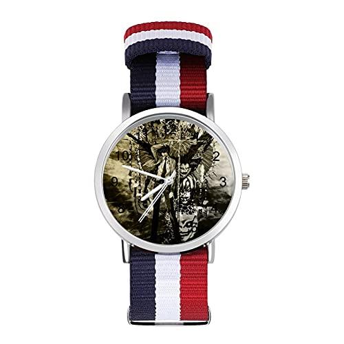 Death NOTE- Reloj de pulsera trenzado con escala ajustable para negocios, banda de impresión a color, adecuado tanto para hombres como para mujeres