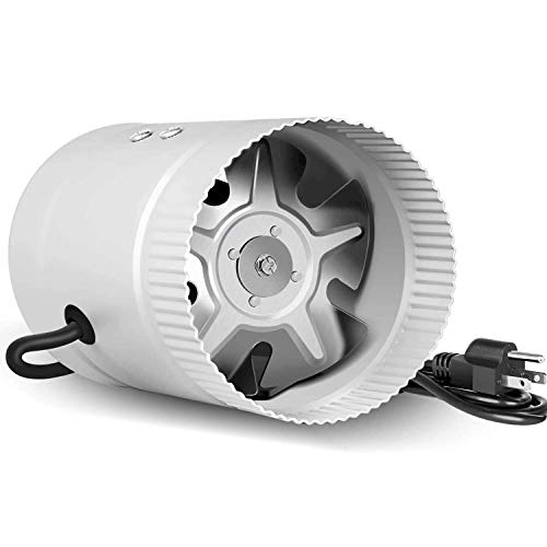 iPower Silent 4 inch 90CFM Booster Fan Quiet Inline Duct HVAC Exhaust Vent Blower with 4.9' Grounded Power Cord, Low Noise, 1 Pack, Silver
