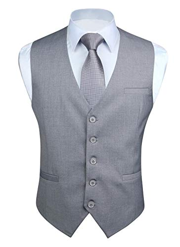 HISDERN Chaleco formal para hombres Fiesta de negocios Chaleco de algodon Chaleco de color s¨®lido Gris-1