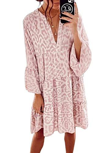 CORAFRITZ Lässiges Tunika-Kleid für Damen, Leopardenmuster, Rüschen, V-Ausschnitt, fließend, schwingend, lose Tunika-Kleider, Vintage-Stil, rosa Druck, langärmelig, Midi-Kleid.C-Rosa,L
