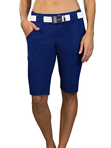 Jofit Women's Athletic Clothing Long Bermuda Golf Shorts with Back Pockets, Fitted Athletic Clothes, Size 6, Blue