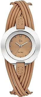 698122 - Reloj analógico de cuarzo para mujer, correa de cuero color beige
