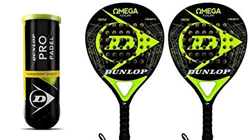 Dunlop Omega Yellow PRO & 3 Dunlop Pro - Juego de palas de pádel
